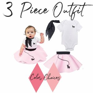 3 piece baby 50's poodle skirt outfit