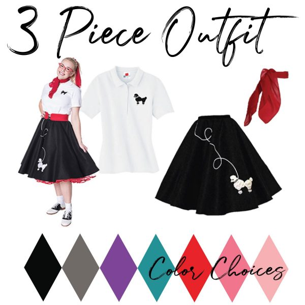 Adult 3 piece vintage outfit with black poodle skirts