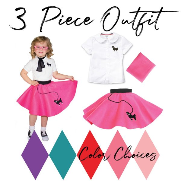 3 piece outfit for toddlers 50's vintage poodle skirt outfit