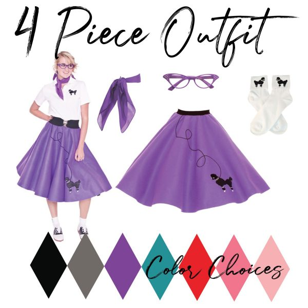 Adult 4 piece outfit with vintage purple poodle skirt