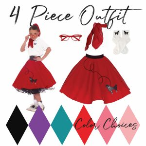 Girls 4 piece poodle skirt 50's outfit complete set