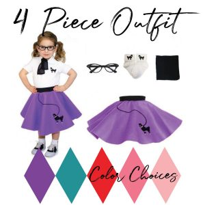 4 piece toddler vintage poodle skirt outfits