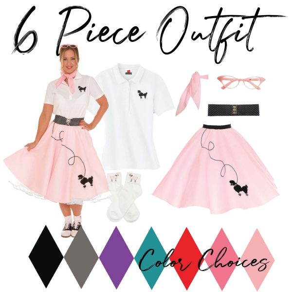 adult 6 piece 50's vintage outfit with pink poodle skirt