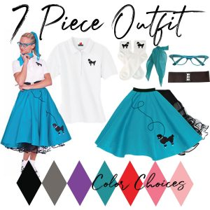 adult 7 piece 50's outfit with poodle skirt in teal