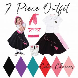 7 piece toddler outfit pink poodle skirt