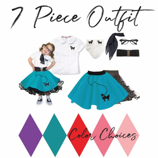 7 piece toddler poodle skirt outfits in teal