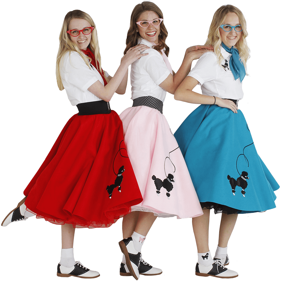 Young girls wearing 50's poodle skirts