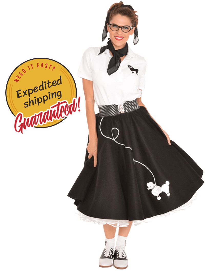 Woman wearing vintage poodle skirt