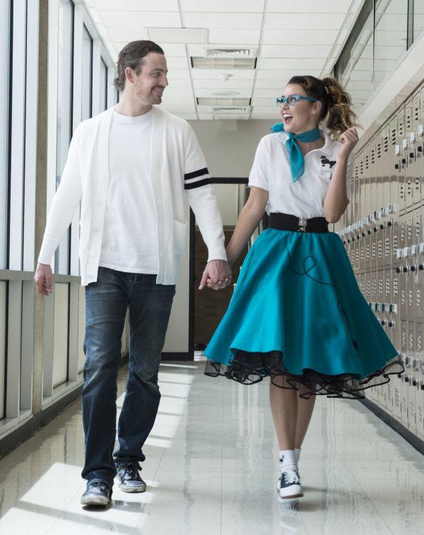 50's High School Sweethearts Walking Down School Hallway